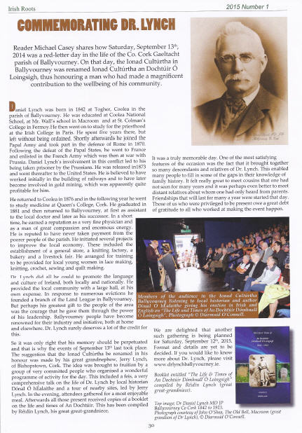 Irish Roots Article Issue 93 Jan 2015 Commemorating Dr Lynch